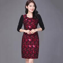 喜婆婆th妈参加婚礼li中年高贵(小)个子洋气品牌高档旗袍连衣裙