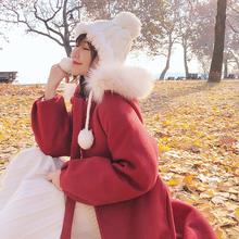 林诗琦2020秋冬新式毛领斗篷th12子外套li中长式毛呢大衣女