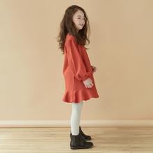 202th秋冬装新式li宝宝女童纯色卫衣裙荷叶边长袖洋气连衣裙