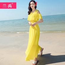 很仙的th纺连衣裙夏rd0新式吊带大摆黄色沙滩裙修身显瘦超仙长裙