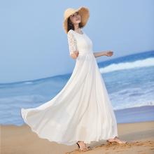 202th新式女气质fe摆长式连衣裙夏修身白色裙子蕾丝拼接沙滩裙