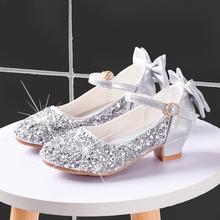新式女th包头公主鞋me跟鞋水晶鞋软底春秋季(小)女孩走秀礼服鞋