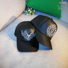 棒球帽秋冬季th风皮质黑色me男女个性潮款酷(小)众好帽子