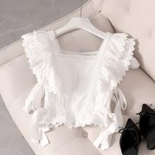 蕾丝拼th短袖雪纺衫ew19夏季新式韩款显瘦短式露脐一字肩上衣潮