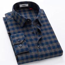 鸭鸭衬th男士长袖蓝od商务休闲纯棉全棉磨毛中年爸爸衬衣厚