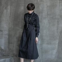 SIMPLE BLACK 春th11暗黑风od气质裙子绑带长袖连衣裙女