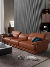 沙发头th现代简约新pe客厅L形三的贵妃(小)户型皮沙发