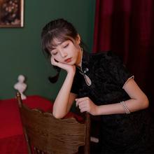 日常改th款年轻式旗ph短式秋冬中国风复古暗黑新式显瘦连衣裙