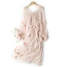 海边拍th超仙女神vpi皱褶真丝雪纺连衣裙大摆中长裙度假裙