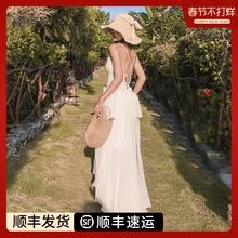 三亚沙th裙2020pi色露背连衣裙超仙巴厘岛海边旅游度假长裙女