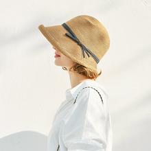 赫本风th帽女春夏季qu沙滩遮阳防晒帽可折叠太阳凉帽渔夫帽子