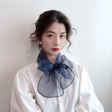 (小)女士th秋季百搭长qu韩国领巾细窄围巾冬季纱巾领带装饰