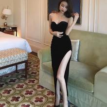 泰国潮th抹胸高开叉qu瘦丝绒不规则长裙夜场气质礼服连衣裙女