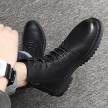 马丁靴th式复古英伦qu靴冬季高帮鞋黑色百搭拉链靴子