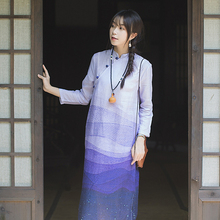 棉麻(小)th花连衣裙秋ra麻复古盘扣禅茶服布衣女装时尚旗袍改良