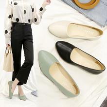 夏季软皮工作th女黑色浅口as鞋软底职业皮鞋平跟空姐工装女鞋