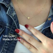 韩国正th流行14Kas 黑色两种颜色十字架锁骨连七夕礼物