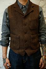 秋冬男th咔叽复古西ri男欧美修身的字纹保暖羊毛马夹大码背心