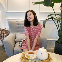 202th春夏季清新ri可爱粉红色条纹圆领直筒短袖香香连衣裙女