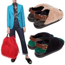 欧洲站th皮羊毛交叉ri冬季外穿平底罗马鞋一字扣厚底毛毛女鞋