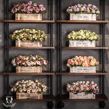 客厅仿th假花篮盆栽ri栏摆件塑料干花束植物家居餐桌茶几绢花
