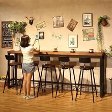 。吧台实木桌椅组合写字台防腐咖啡店th14便烘培so房原木色