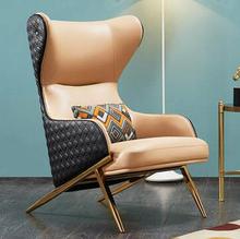 单的沙th轻奢后现代we阳台卧室高靠背老虎椅真皮休闲懒的沙发椅