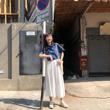 馨帮帮th020夏季we裙工装裙高腰显瘦垂感a型中长式白色半身裙