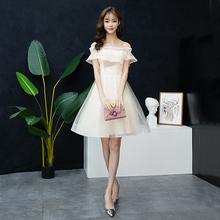 派对(小)礼th1仙女系宴th衣裙平时可穿(小)个子伴娘服仙气质短式