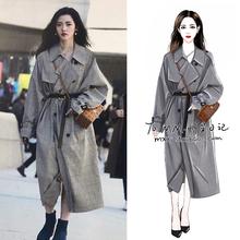 202th明星韩国街an格子风衣中长式过膝英伦风气质女装外套