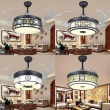 新中式th形吊扇42vi灯布艺青花瓷客厅餐厅卧室书房铁艺吊灯