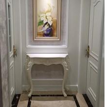 欧式玄th柜轻奢风靠we半圆端景台进门隔断装饰美式客厅置物架