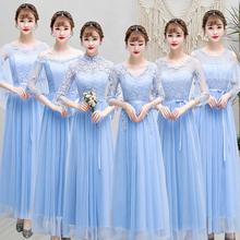 202th新式秋季闺wo女显瘦中长式仙气质伴娘团姐妹裙大码