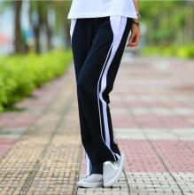棉质深th校服裤男女wo裤女式(小)学初中学生学院风高中直筒校裤