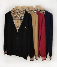 202th春英伦专柜ck子领拼接假两件修身显瘦纳米天丝开衫毛衣