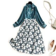 品质女装金丝绒拼接印th7连衣裙2ck季新式西装领打底裙长袖L645