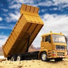 合金遥th自卸车充电rn车成的超大宝宝运输卡车合金翻斗车模型