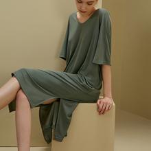 莫代尔th裙中袖睡衣ea季薄式冰丝夏天短袖宽松连衣裙子家居服