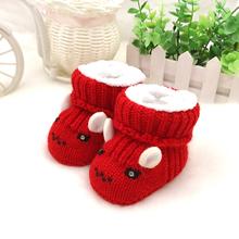 手工编th0-6-8ea加厚加绒 婴儿毛线鞋棉靴 宝宝新生儿针织鞋子