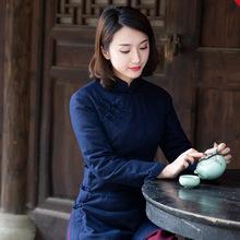 中式棉th女中国风唐ee装 加厚(小)棉袄茶服民国风复古女装