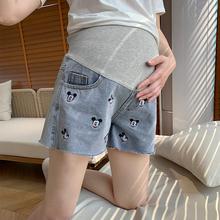 时尚米奇孕妇牛仔短裤外穿