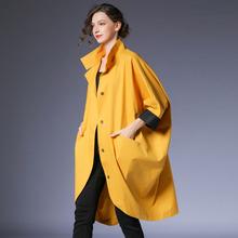 咫尺欧th中长式蝙蝠wp大码显瘦立领长外套女2021春装新式