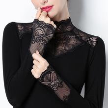 蕾丝打th衫立领加绒wp衣2021春装加厚修身百搭镂空(小)衫长袖女