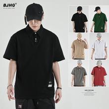 BJHG自制 夏季2021纯色翻领th14袖T恤wp男潮牌日系宽松港风半袖