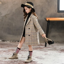 女童毛th外套洋气薄wp中大童洋气格子中长式夹棉呢子大衣秋冬