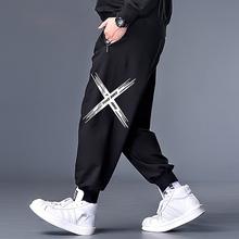 显瘦衣th装特大码休wp宽松收腿运动裤子薄式弹力高腰