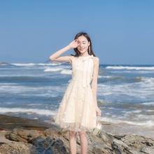 202th夏季新式女wp(小)清新网纱露肩连衣裙高腰显瘦蝴蝶结蓬蓬裙