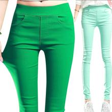 女士裤th2020新wp弹力糖果色打底裤薄式松紧腰(小)脚铅笔裤彩裤