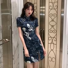 202th流行裙子夏wp式改良仙鹤旗袍仙女气质显瘦收腰性感连衣裙