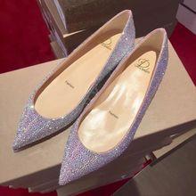 超闪水钻尖头th底浅口单鞋wp高满钻低跟伴娘鞋灰姑娘水晶婚鞋